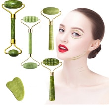 Facial Massage Roller Double Heads Jade Stone Face Lift Hands Body Skin Relaxation Slimming Beauty H