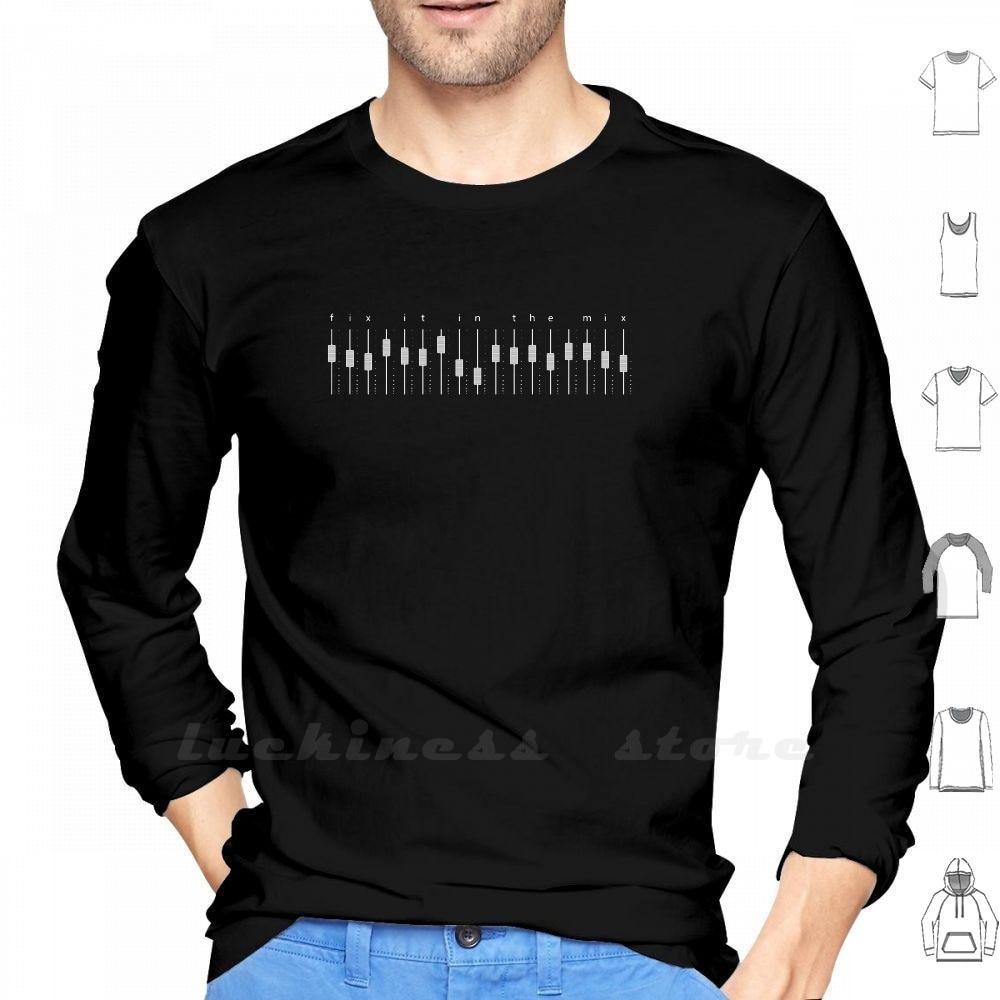 Podemos fijarlo en la mezcla (versión Fader múltiple) Camiseta de manga larga grabación de estudio música músico guitarrista cantante