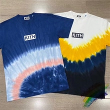 새로운 KITH 여름 타이 염료 티 박스 로고 티셔츠 남성 여성 11 고품질 Streetwear KITH 티셔츠 티셔츠