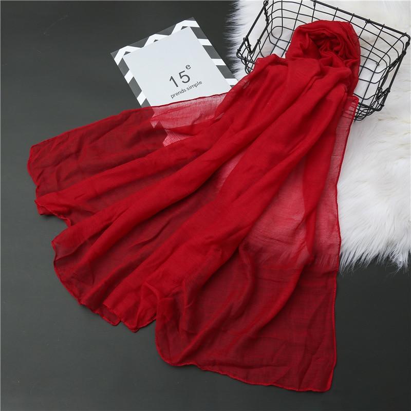Summer Plain Bubble Cotton Scarf for Women Soft Hijab Solid Pashmina Foulard Shawls Wraps Winter Sca