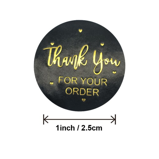 500 Pcs/Roll Golden Foil Thank You Stickers DIY Gifts Label Stickers for Packageing 8