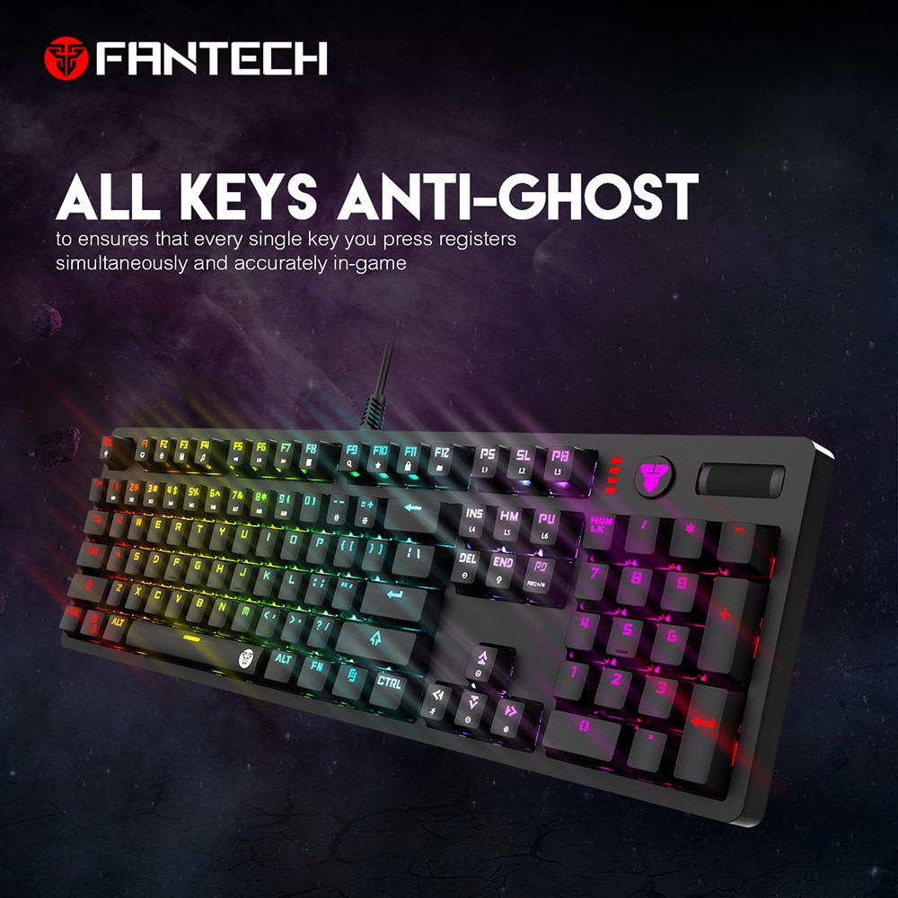 Teclado Gaming Fantech MK851 de 104 teclas, Teclado retroiluminado en inglés RGB, azul y Born, todos los botones No tienen conflictos, Teclado Gamer