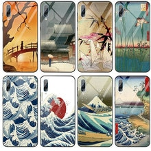 موجة كاناغاوا اليابان الزجاج المقسى الهاتف حالة لسامسونج غالاكسي A6 A8 A9 A10 A20 A30 A40 A50 A70 A80 A90 S8 S9 S10 زائد