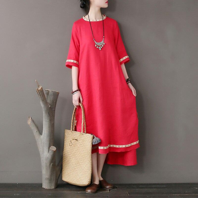 النمط الوطني الأصلي المرأة فستان خياطة التطريز المسيل للدموع حافة فستان من الكتان فضفاضة الأكمام عالية الجودة