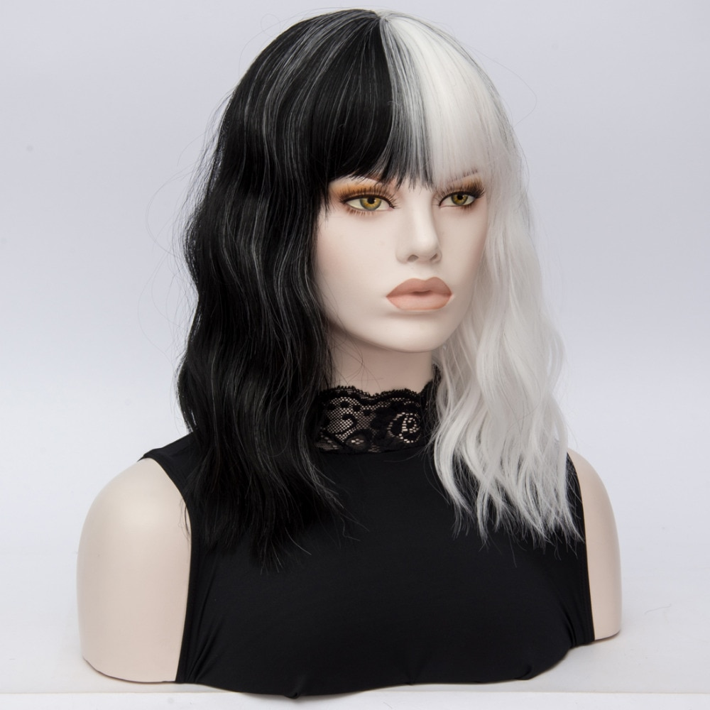 High Quality CRUELLA De Vil Wigs Deville Middle Long Black White Curly Heat Resistant Hair Cosplay Wig + Wig Cap