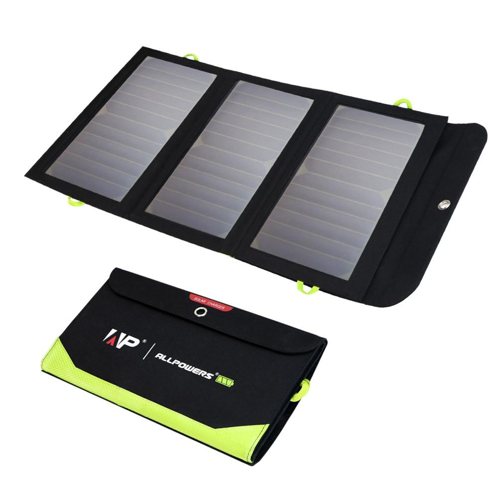 Allforce لوحة طاقة شمسية 5 فولت 21 واط المدمج في بطارية 10000mAh المحمولة شاحن بالطاقة الشمسية مقاوم للماء بطارية شمسية للهاتف المحمول في الهواء الطلق