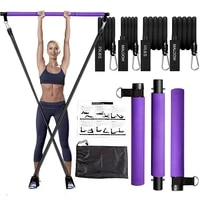 pilates bar kit with resistance band pilates exercise stick pull ropeportable fitness equipment home gym workout bodybuilding