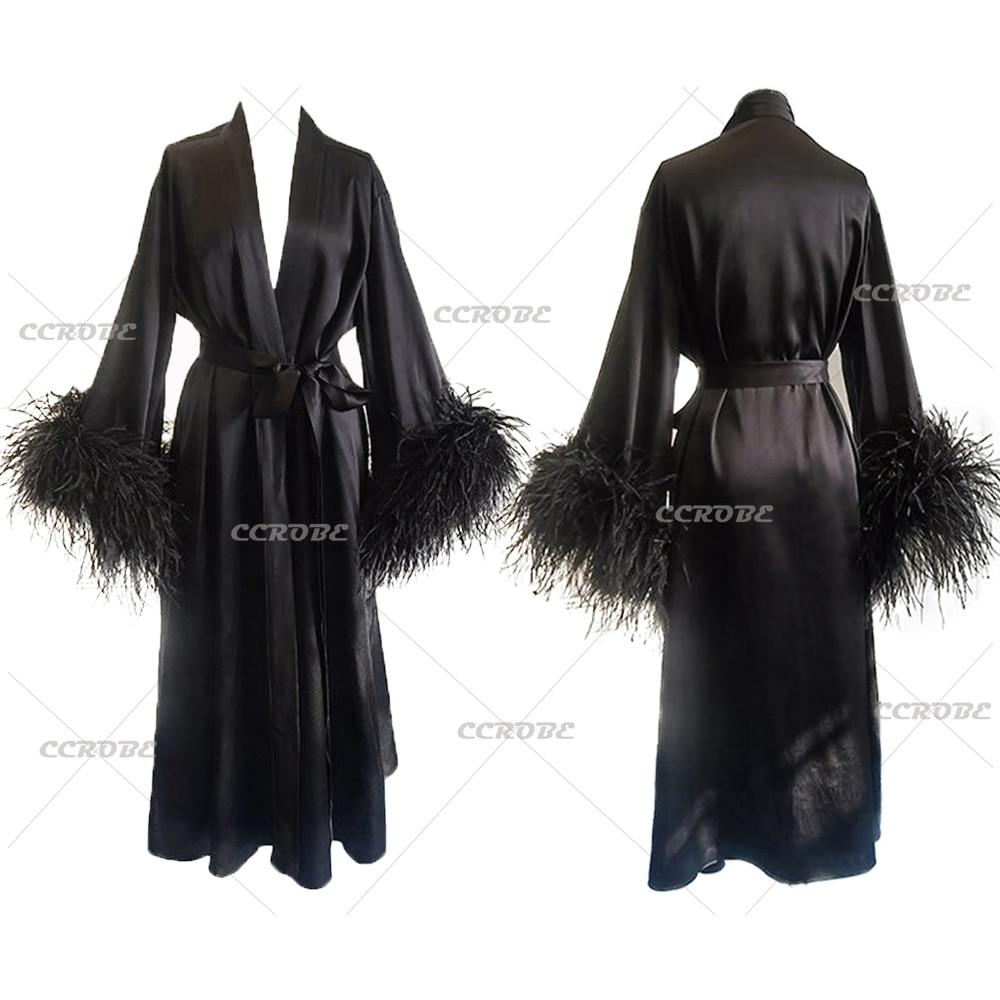 Ladies Black Satin Silk Robe with Ostrich Feathers Wedding Robes Bridal Sleepwear Dressing Gown Pregnancy Photoshoot Dress
