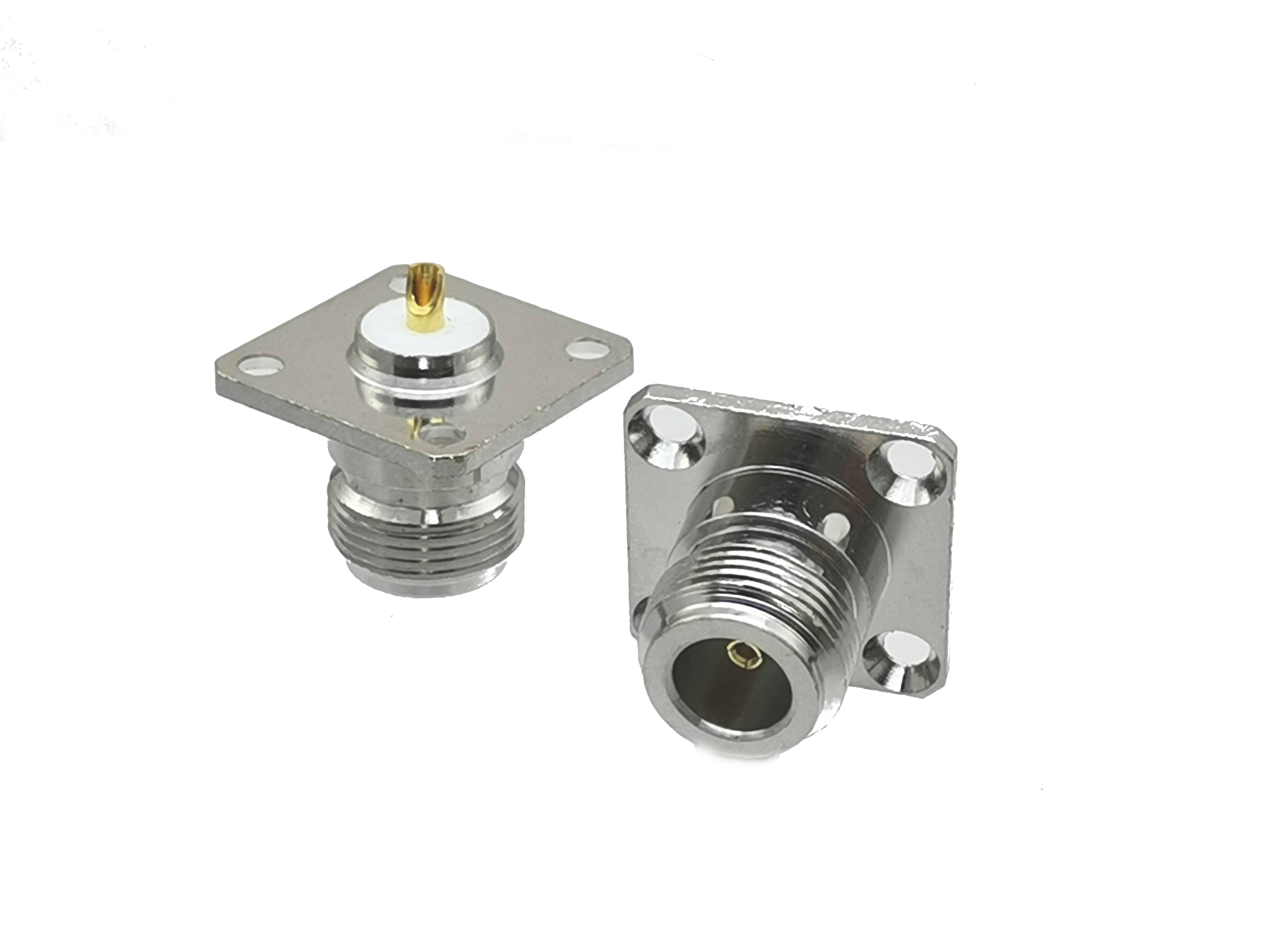 Conector N Hembra jack 4-hole 25,4mm brida montaje de panel de soldadura recta RF Coaxial