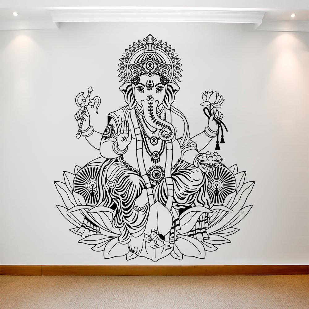 YOYOYU calcomanía de vinilo para pared adhesivo arte extraíble Ganesh arte de elefante Mural de pared para dormitorio sala de estar extraíble póster de pared HL94