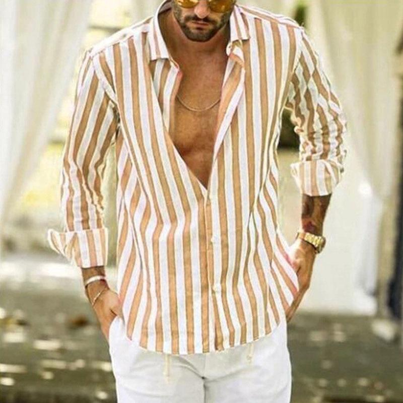 Brand Business Vertical Striped Shirt Men's Korean Business Hit Color Long-sleeved Vertical Striped Shirt Tide Brand Men's Tops