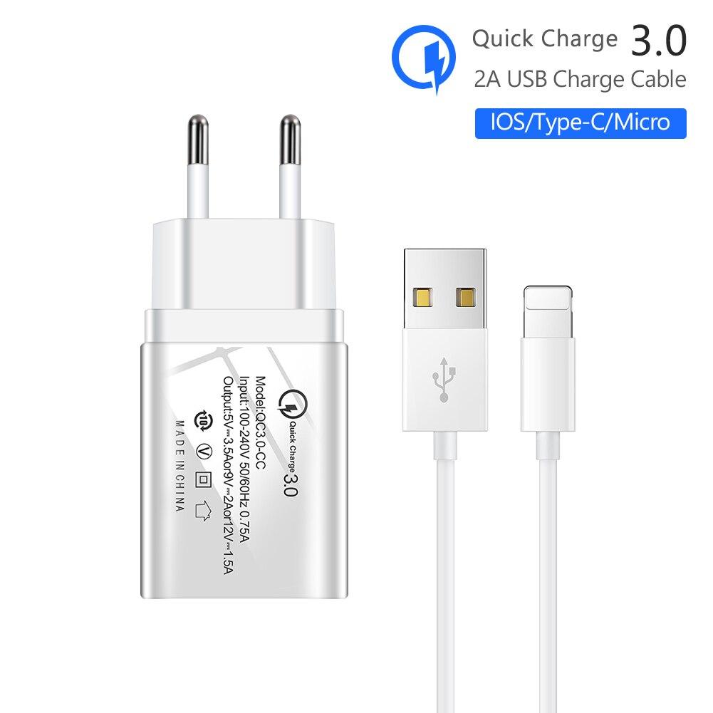 Carga rápida rápida rápida 3.0 único carregador usb ue/eua 5v/3.5a 9v/2a 12v/1.5a com tipo c cabo de carga para apple iphone huawei samsung