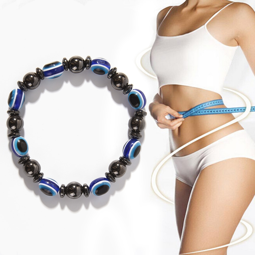 Fashion Weight Loss Round Black and Blue Stone Luxury Slimming Product Magnetic Therapy Bracelet Hea
