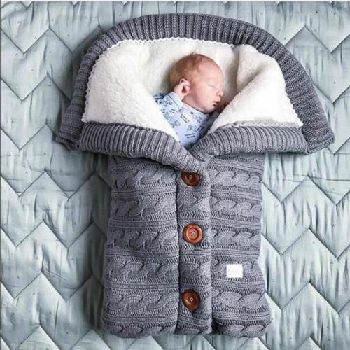 Bebé-bolsa de dormir para Invierno, bolso de dormir de punto envolvente, paños...