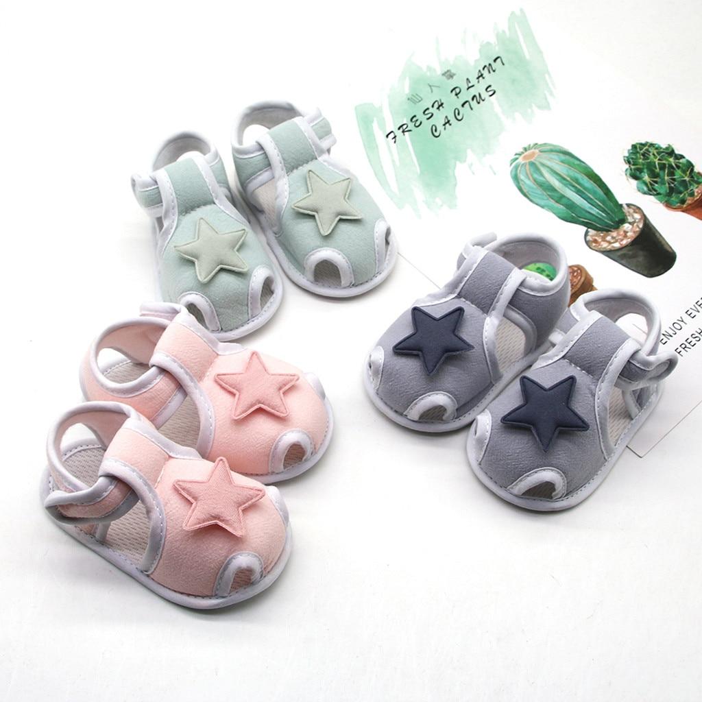 fashion summer first walkers shoes for newborns baby girls boy Prewalker Printing Stars Applique Sin