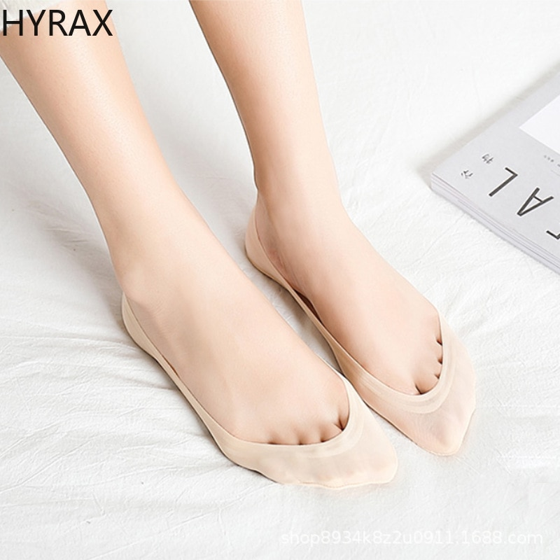HYRAX Ice Silk Women Socks Ultra-thin Seamless Shallow Mouth Socks Pure Cotton Bottom Silicone Cute