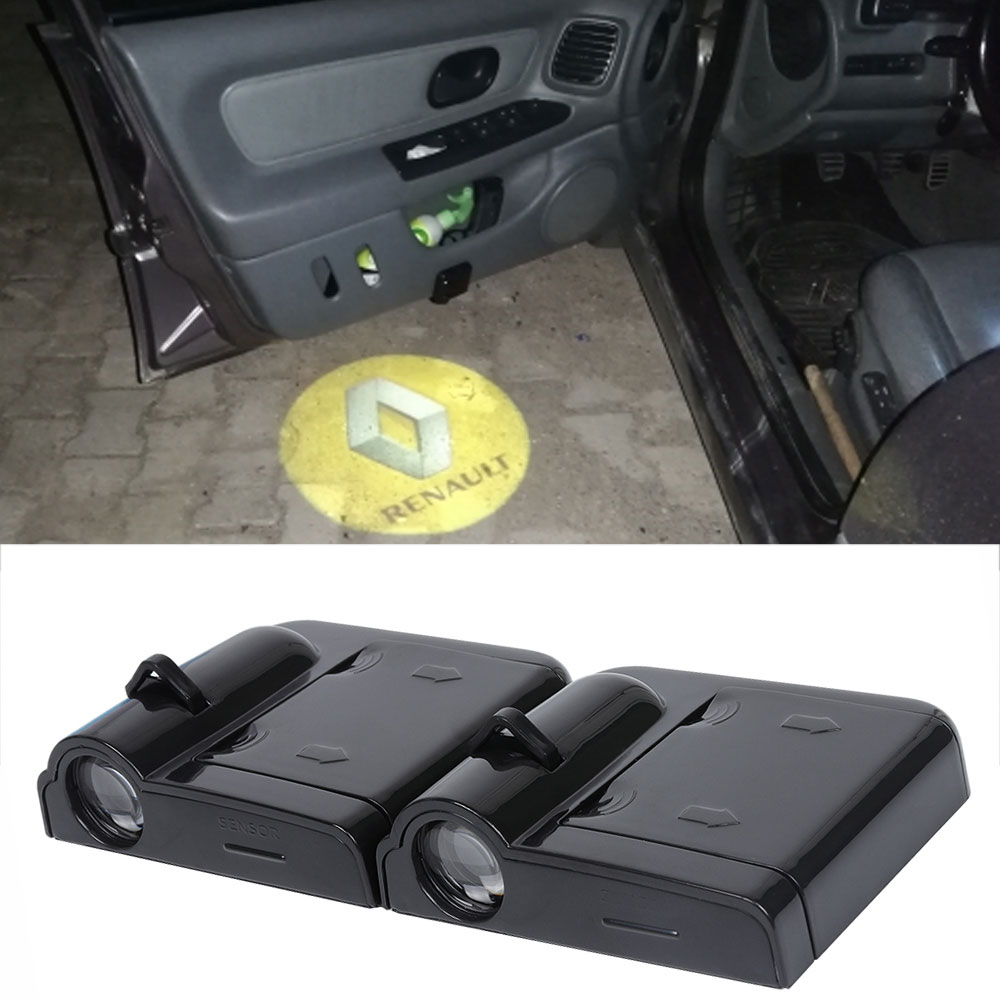 2X LED para puerta de coche, proyector de luz de bienvenida, logotipo, lámpara de sombra láser de cortesía para Renault duster megane 2 3 captura de clio fluence