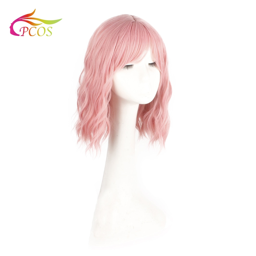 Short Wavy Synthetic Hair Pink Wigs with Bangs Heat Resistant Cosplay Wigs for Black Women African American Two color available