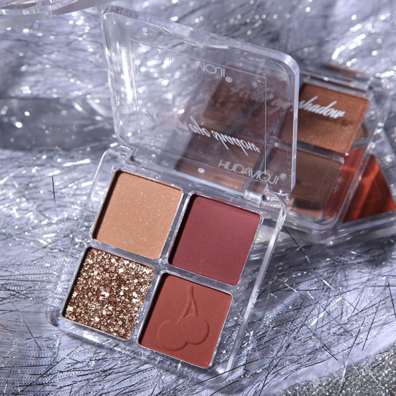 Beauty Glazed-sombra de ojos bonita, 4 colores, sombra de ojos perlada Natural mate, paleta de maquillaje, polvo cosmético de belleza