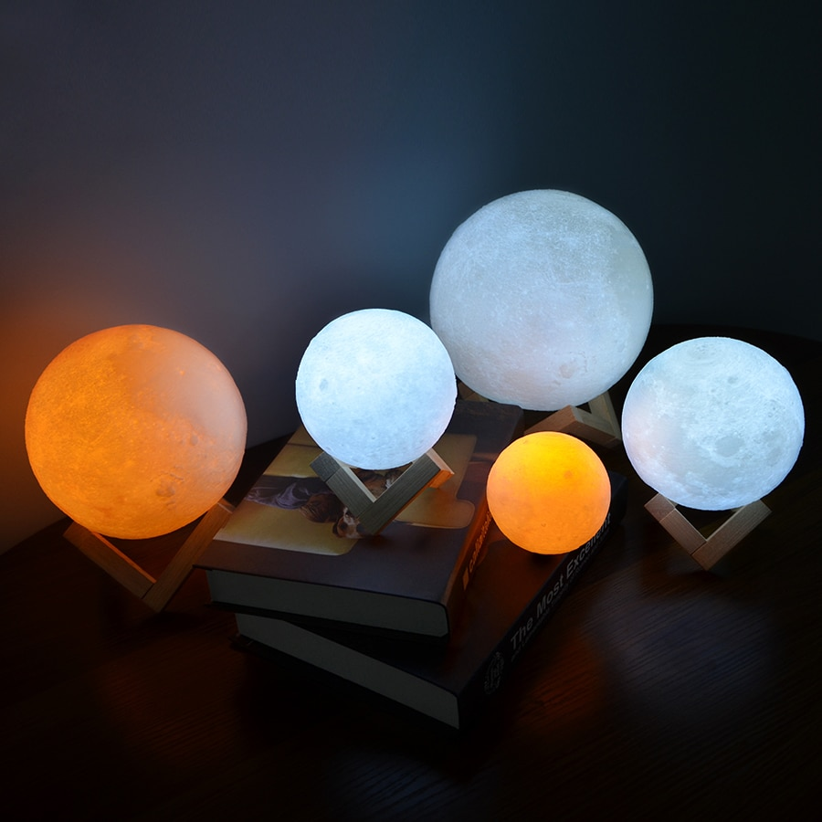 Dropship 3D Print Rechargeable Moon Lamp LED Night Light Creative Touch Switch Moon Light For Bedroom Decoration Birthday Gift enlarge