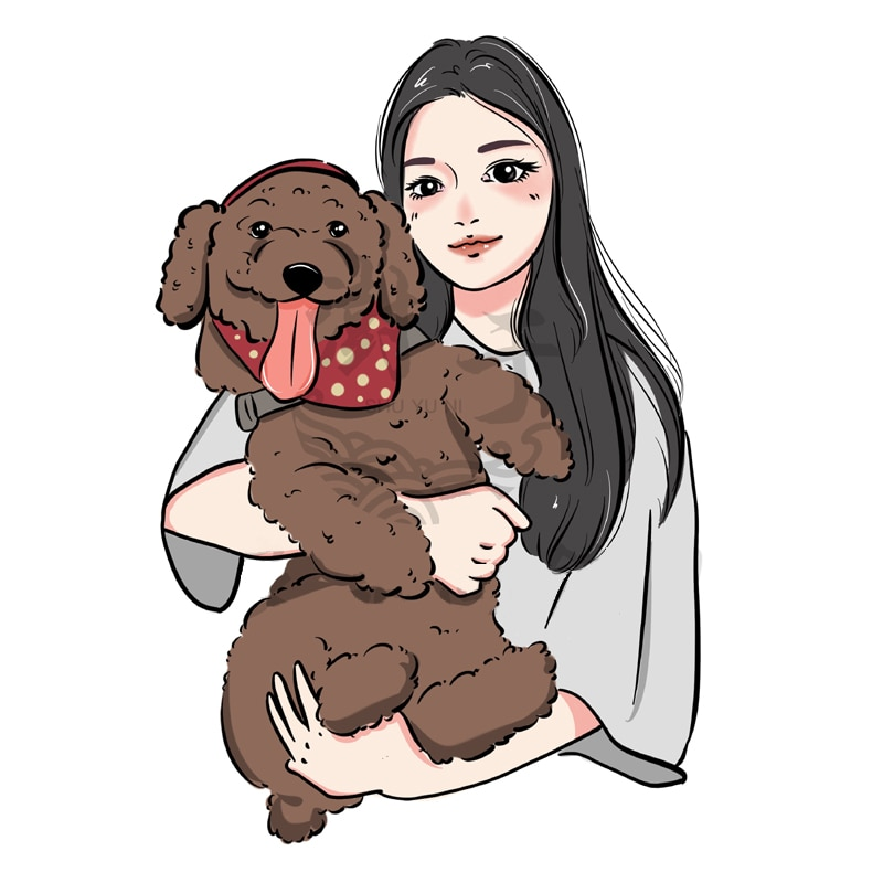 Cartoon Drawing of Me And My Dog Hand drawn avatar anime portrait couple pattern design photo custom portrait Surprise Gift