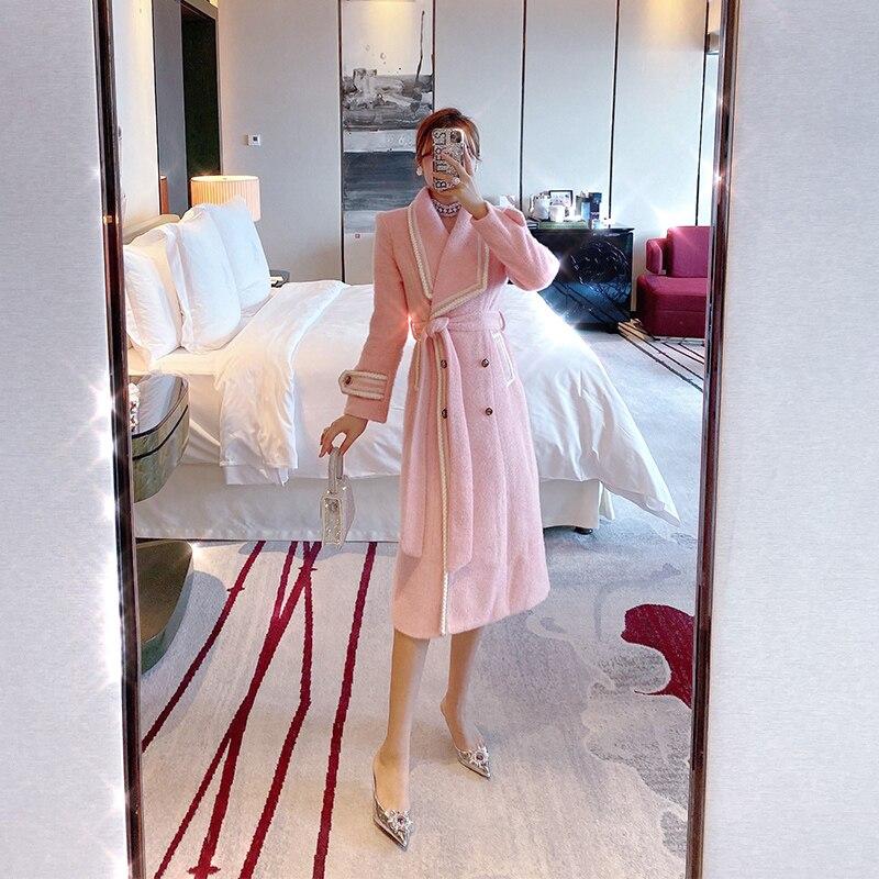 معطف تويد وردي سميك وناعم للنساء, معطف شتوي سميك وناعم لعام 2021 ، معطف نسائي من الصوف متوسط الطول ذو طية صدر كبيرة