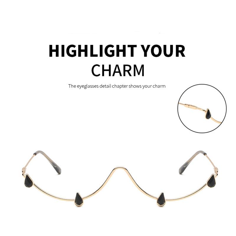 Fashion Rhinestone Glasses Frame Alloy Crystal Sunglasses Half Frame Glasses Women 2021 Luxury Cryst