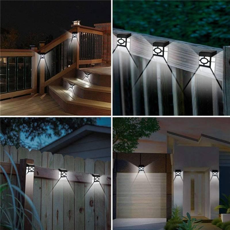 مصابيح تعمل بالطاقة الشمسية 4 قطعة وحدة إضاءة LED جداريّة جبل أضواء سياج مصابيح في الهواء الطلق حديقة باب الخطوة