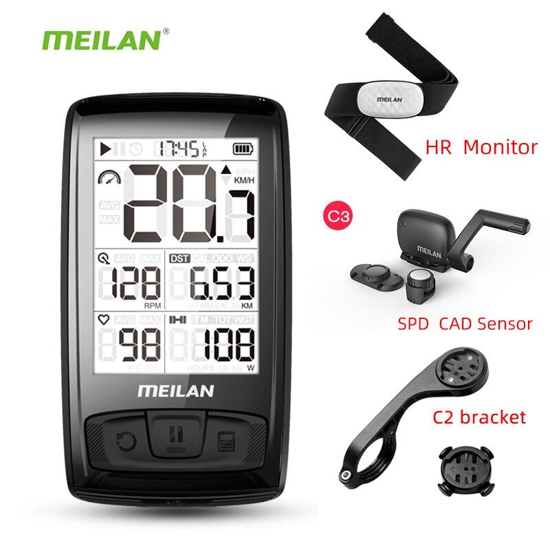 Meilan M4 دراجة لاسلكية عداد السرعة مراقب معدل ضربات القلب للإيقاع سرعة الاستشعار مقاوم للماء ساعة توقيت