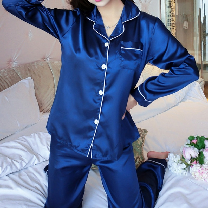 Women Pajama Sets Silk Satin Pijama Turn-down Collar Sleepwear Long Sleeve Spring Nightwear Femme 2 Pieces Set Homewear