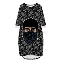 new fashion bandana 3d print long skull paisley pocket loose casual robe summer dress traf for women v16