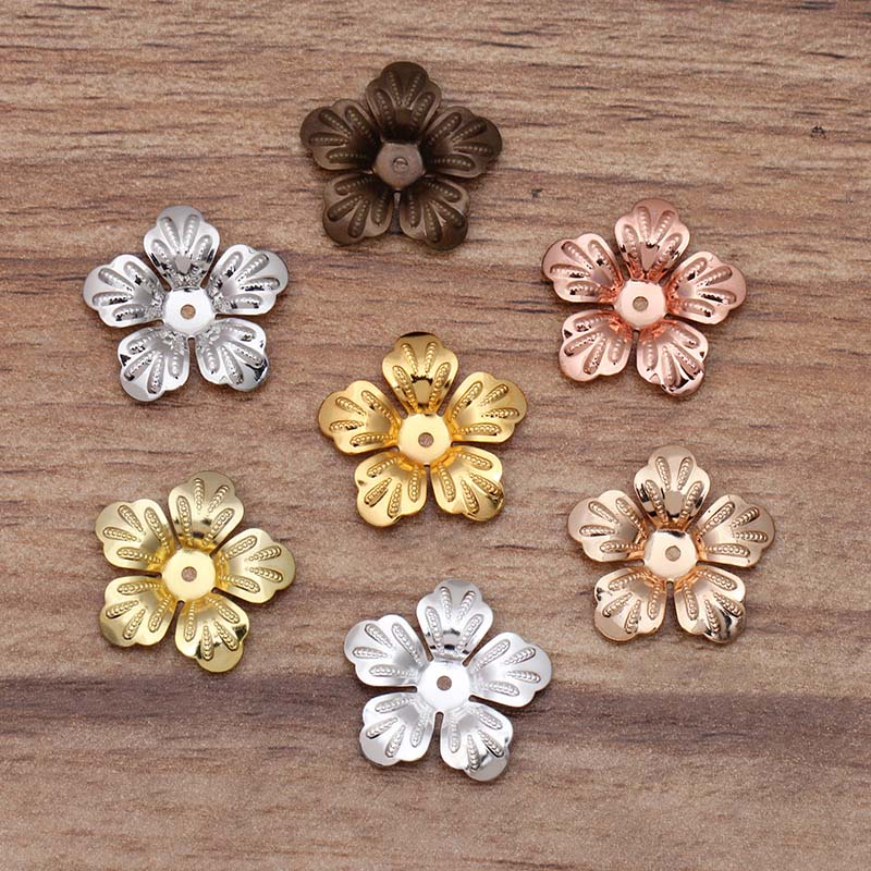 Mibrow 50pcs Vintage 7 Colors 21mm Copper Flower Bead Caps Filigree End For DIY Hair Jewelry Making Findings
