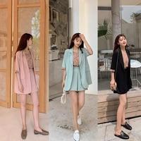 summer casual womens shorts set 2021 bottom floral top short sleeve blazer 3 piece fashion shorts sets female korean clothing