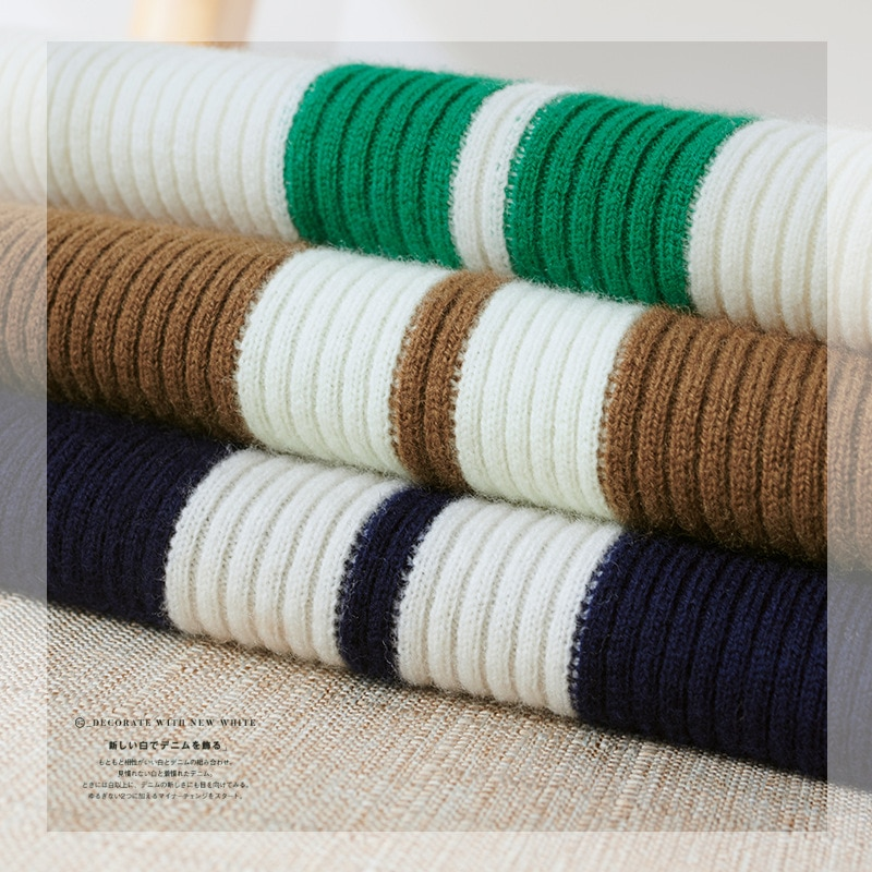 Shuchan Design Asymmetry Wool Knit slim Sweater Pullover  Autumn Winter New 2021 Zippers  Striped  Button Up Collar Warm Fashion enlarge