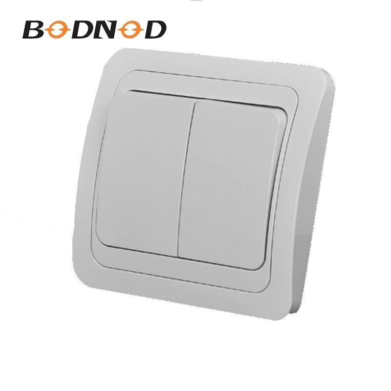 Interruptor de luz de dos bandas, Color blanco, interruptor de pared integrado europeo DIY 10A 250V Legrand Schneider Livolo