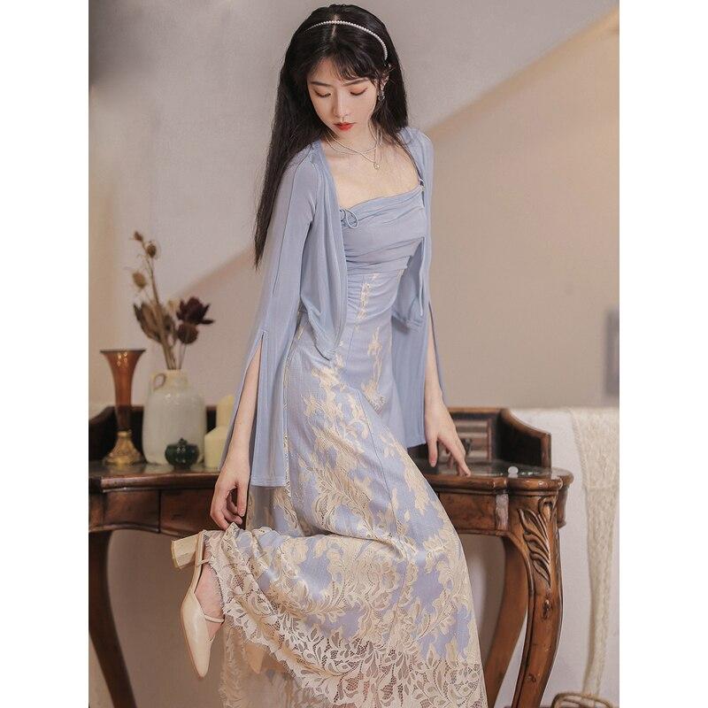 2021 النمط الصيني تحسين hanfu الكلاسيكية عادية اليومية الآسيوية المرأة فستان مجوف تصميم عارية الذراعين الحمالة فستان قطعتين دعوى