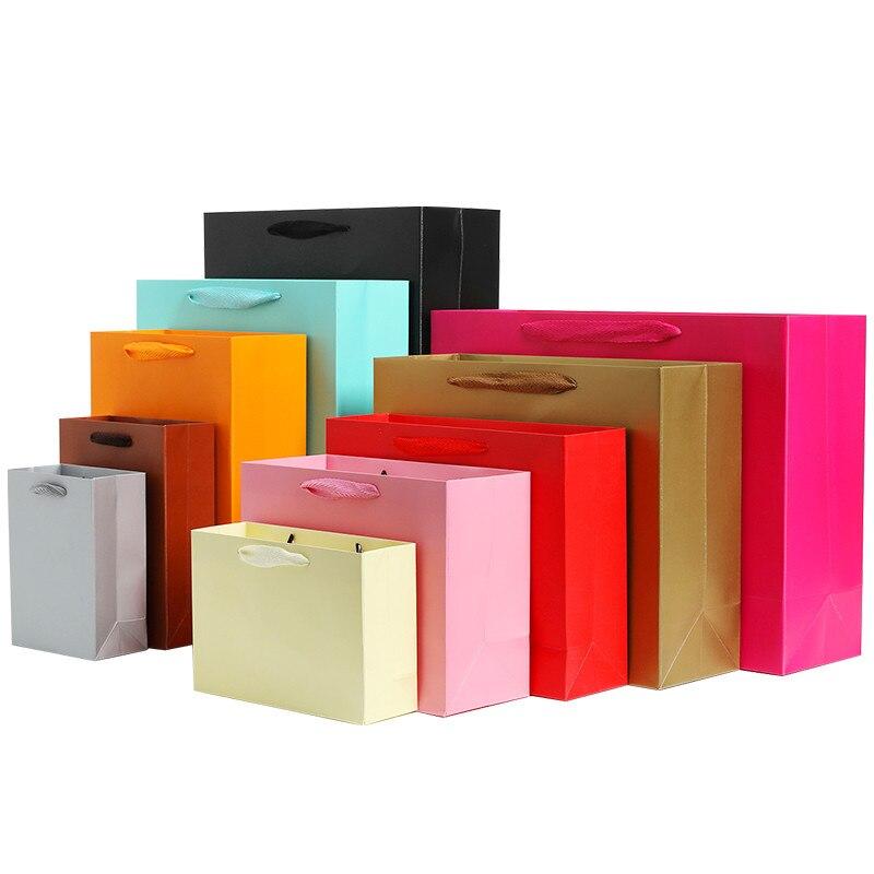 Saco de papel de presente personalizado de 100 peças/10 peças, saco de papel de presente personalizado para roupas, saco de compras de papel adesivo, cor sólida preto branco rosa
