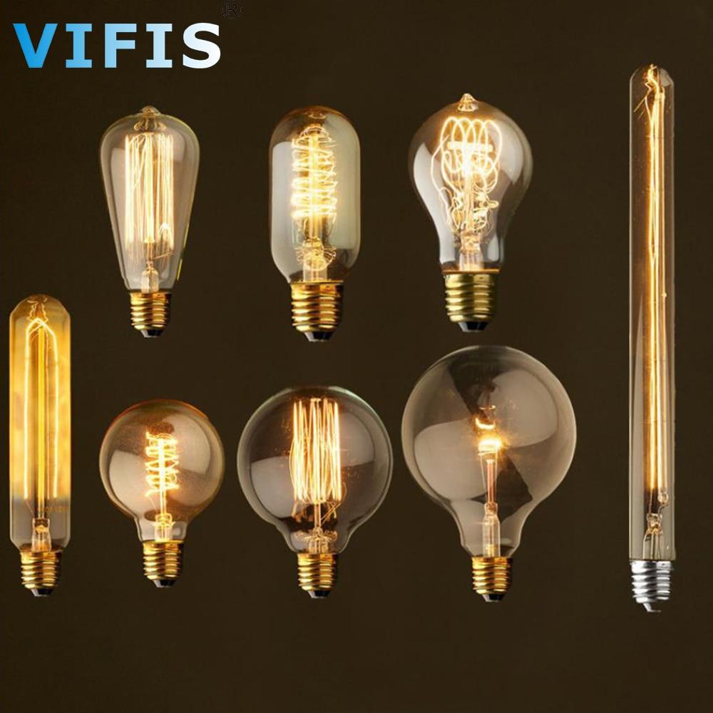 Приглушаемая винтажная лампа Эдисона E27 ST64 T10 T45 G80 G95 40 Вт, подвесной светильник s 220 В светодиодный ная лампа накаливания, веревочный держател...