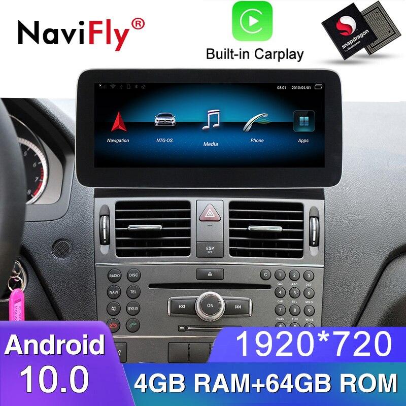"12,5 ""Blu-ray anti-glare pantalla para Mercedes-benz Clase C W204 2008-2010 Android10 coche reproductor multimedia navegación gps 1920*720"