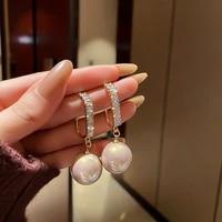 new trendy square shape big pearl drop earrings bridal engagement wedding jewelry elegant female dangle earring women fine gift