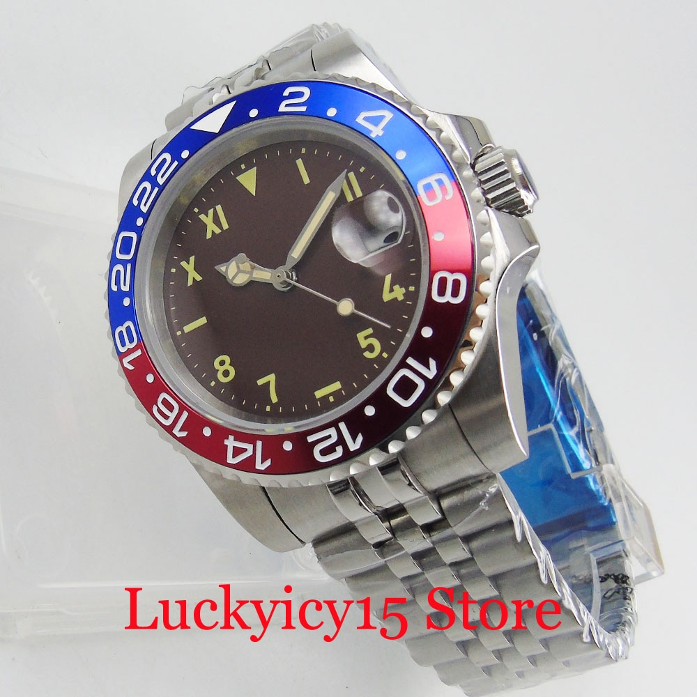 Nologo GMT Model Automatic Men Wristwatch Sapphire Glass Alloy Bezel Jubilee Strap MIYOTA Movement