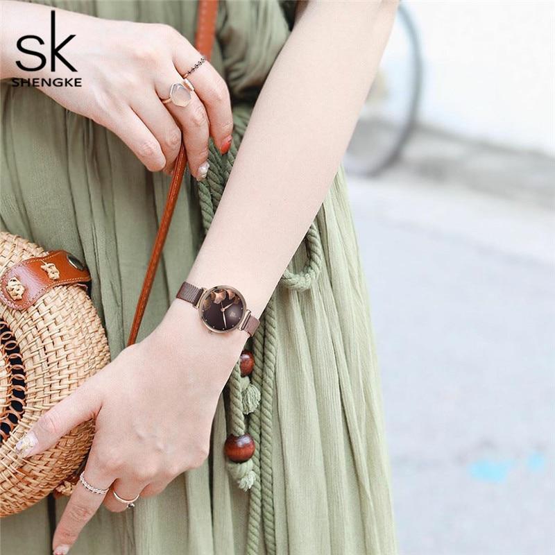 Shengke New Design Women Watches Stainless Steel Mesh Band Reloj Mujer Japanese Quartz Movement Waterproof Luxury Female Watch enlarge