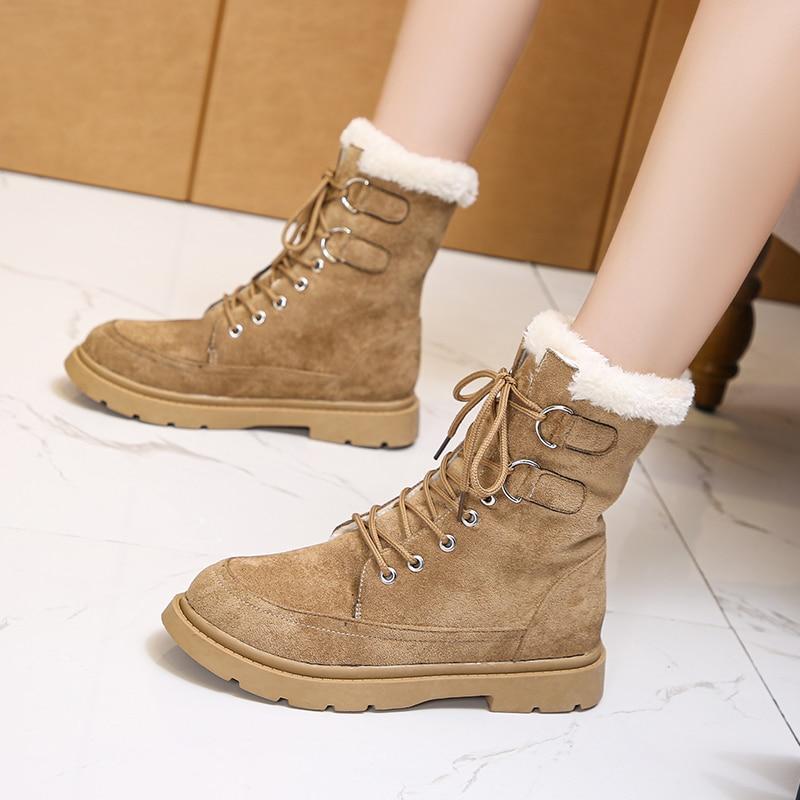 Winter Suede Snow Boots Women Platform Wearproof 2021 Fashion Comfortale Warm Cottom Female Shoes Wi