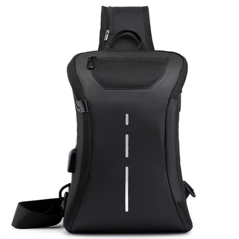 Opening closing business chest bag shoulder messenger handbag tablet computer mobile phone USB charging storage packback bags