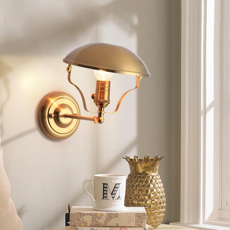 Lámpara de pared de dormitorio nórdico de 6 piezas lámpara de pared de pasillo moderno Simple Hotel lámpara de pared de fondo dorado lámpara LED creativa