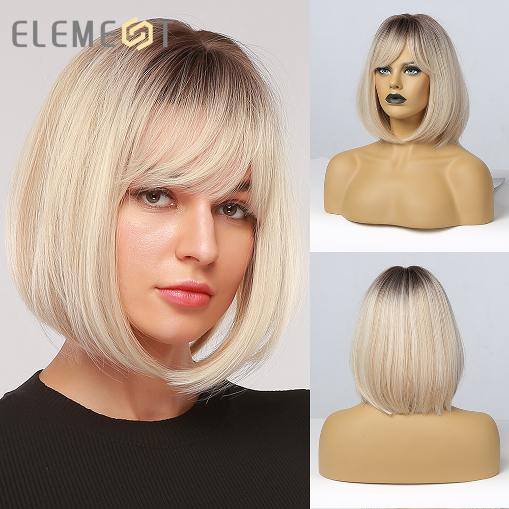 Element Light Platinum Blonde Bob Dark Roots Ombre Wig With Bangs for Women Ladies Synthetic Cosplay Party Daily Fake Hair Wig