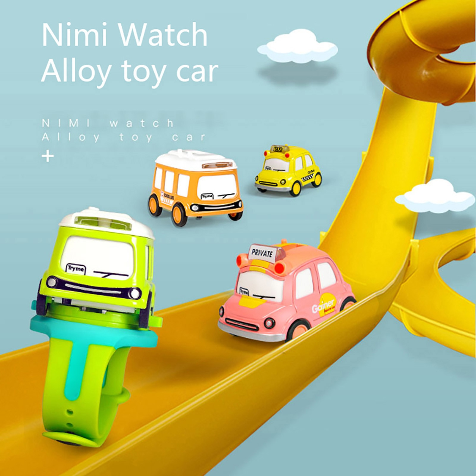 Kid Watch Toys Cartoon Music Bus Interactive Induction Watch Mini Alloy wear-resist Car Collection G