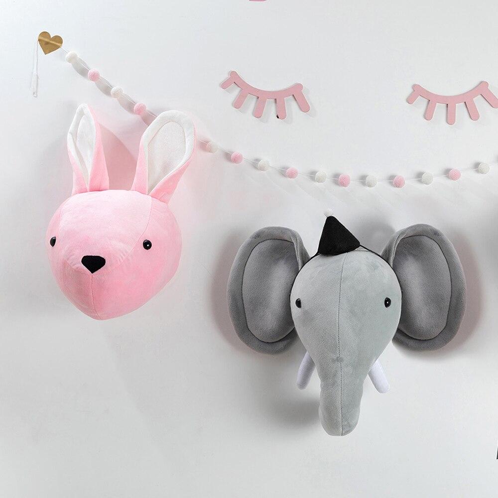 Cabeça animal elefante parede pendurado montagem enchido de pelúcia decorações do quarto das crianças cabeça brinquedos bonito coelho feltro obras de arte montagem na parede