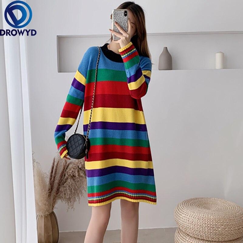 2021 Fall/winter Mid-length Loose Straight Striped Sweater Dress Knitted Rainbow Dress Women All-match Stretch Pullover Dress girls rainbow print striped dress