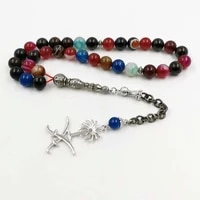 tasbih colored agates stone muslim bracelet gift islam misbaha rosary saudi flag badge pendant 33 66 99prayer bead saudi fashion